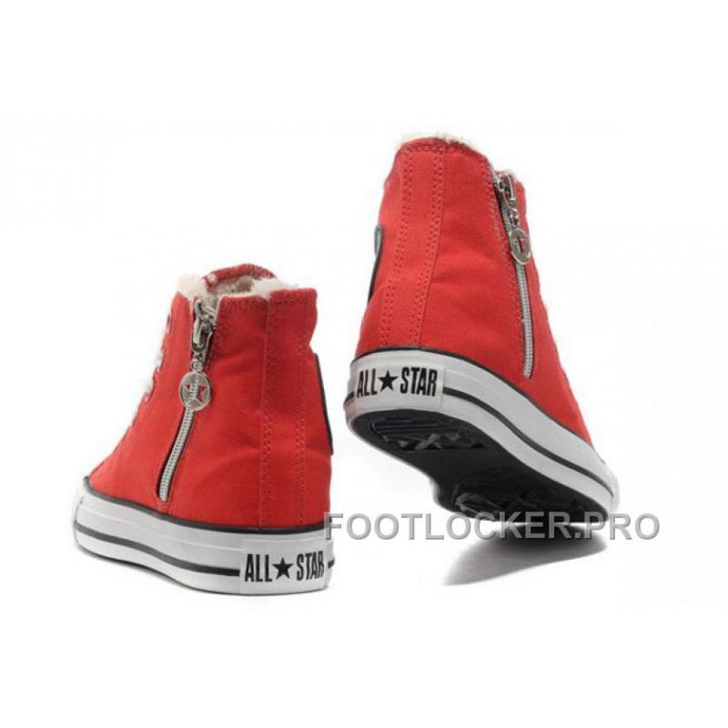 ... Lastest Red CONVERSE Winter Chuck Taylor All Star Soft Nap Shearling  Inside Zipper Canvas Sneakers ... 0ab001066