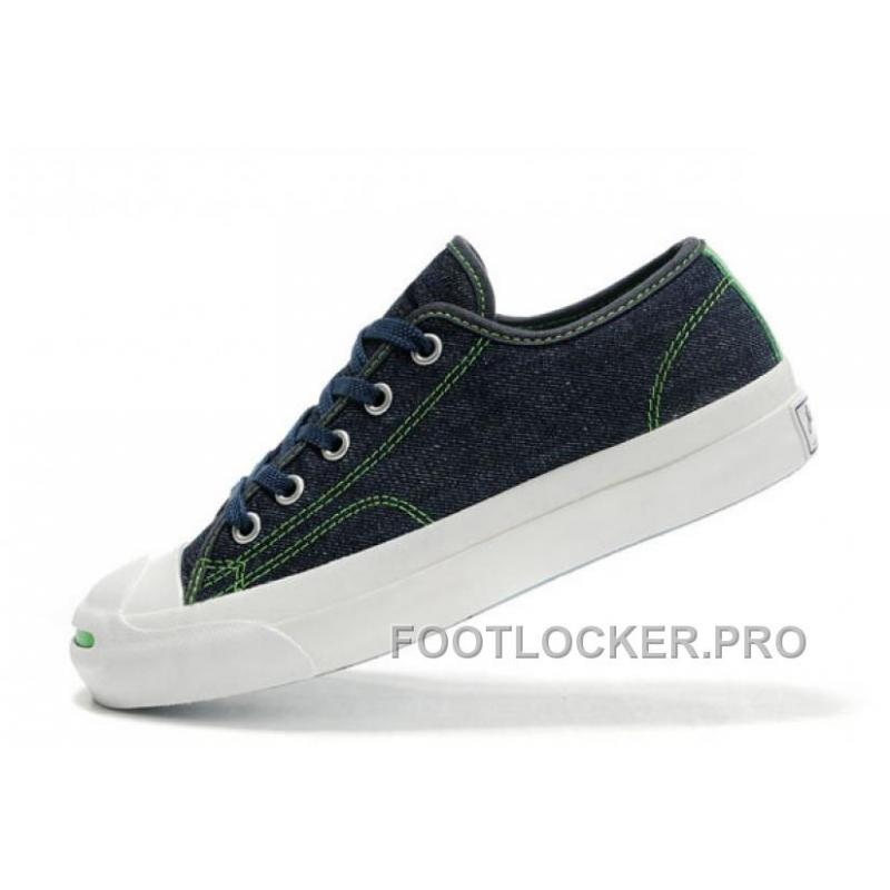 6190cab980e ... CONVERSE Jack Purcell Blue Denim Jean With Green Serif Canvas Shoes For  Sale ...