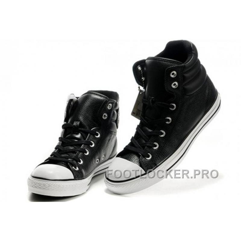 New Embroidery Black Leather CONVERSE Padded Collar Chuck Taylor All Star Winter Boots Discount