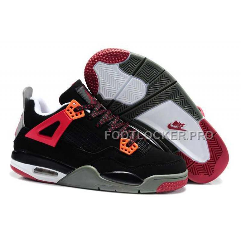 new concept 5caca 14c61 Discount Nike Air Jordan 4 Kids Red Black Grey Shoes