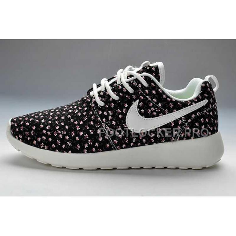 finest selection fec63 c0386 New Arrival Nike Roshe Run Pattern Womens Black Flowers Shoes
