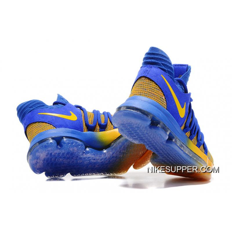 "uk availability c42ba 0435a ... Free Shipping Nike KD 10 ""Warriors Away"" Royal Blue-Yellow ..."