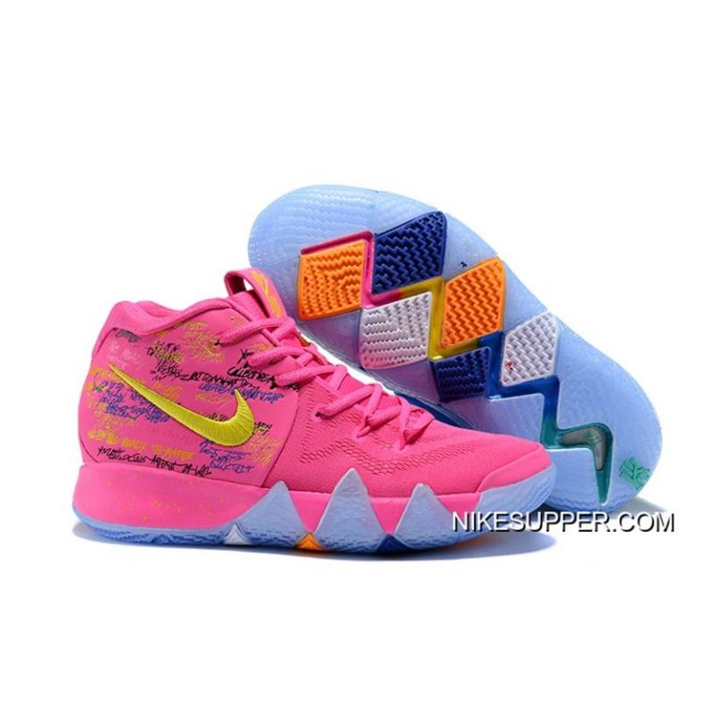 """finest selection 6b350 3d921 Nike Kyrie 4 """"What The"""" Pink/Teal Christmas New Release"""