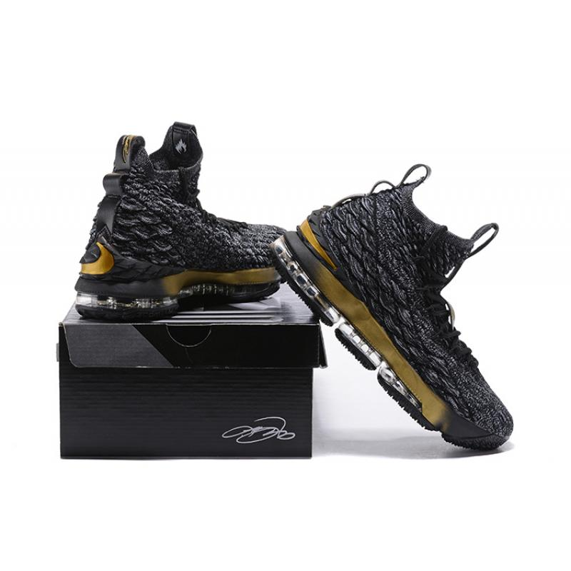 737532b717f ... Free Shipping Nike LeBron 15 Black Grey Metallic Gold