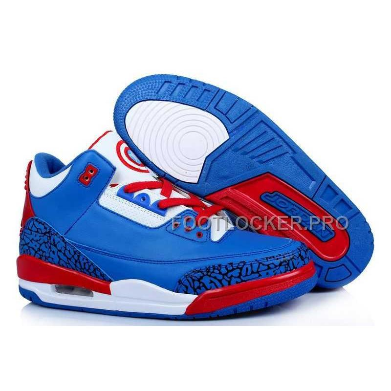 on sale d9f18 187c0 Nike Air Jordan 3 Mens Captain America Blue Red White Shoes New