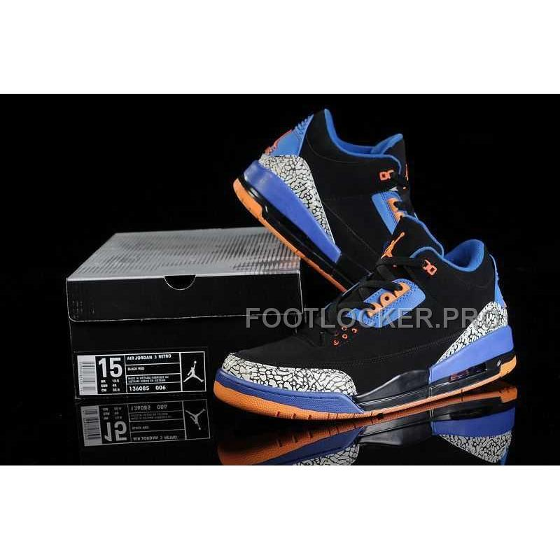 0d380f041 ... Nike Air Jordan 3 Mens Royal Blue Orange Black Shoes New