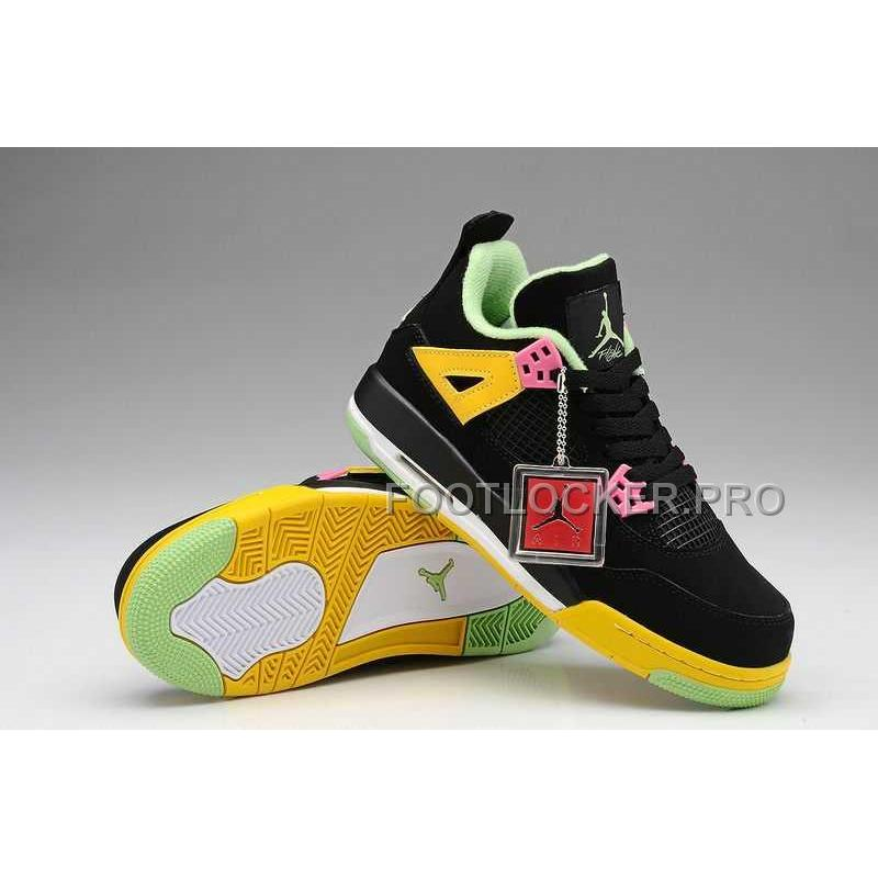17981dad4a4b Nike Air Jordan 4 Womens Black Yellow Shoes New ...