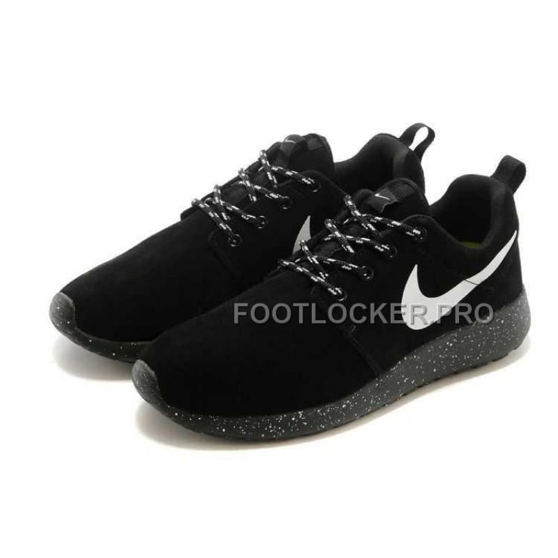 huge discount cc6f3 6d6a3 Nike Roshe Run Suede Star Promo Mens Black White Shoes For Sale