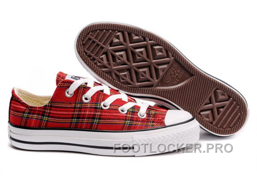 Lastest Red Plaid CONVERSE All Star Scotland Tops Canvas Shoes